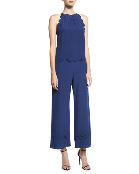 Scalloped Silk Halter Jumpsuit, Navy