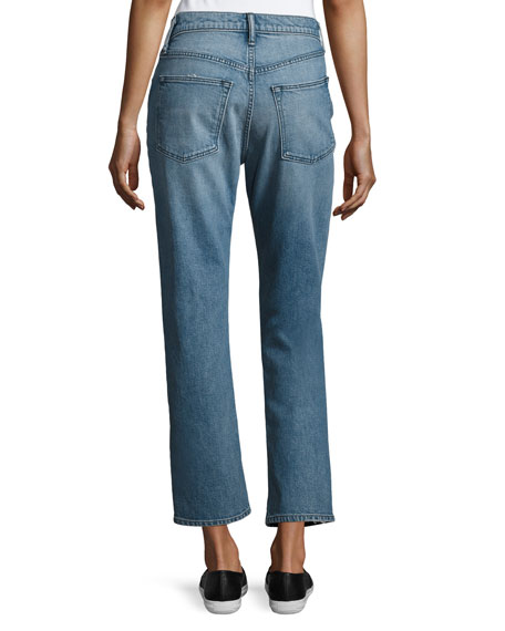 Yoko Relaxed Cropped Stretch Jeans, Blue