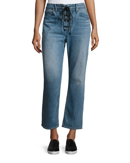 A.L.C. Yoko Relaxed Cropped Stretch Jeans, Blue