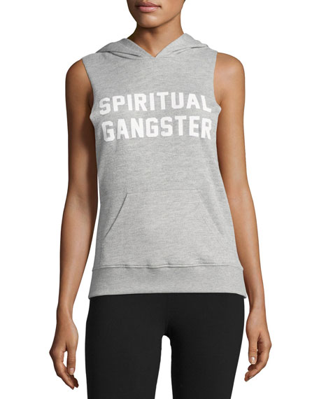 Spiritual Gangster Collegiate Pullover Muscle Hoodie, Gray