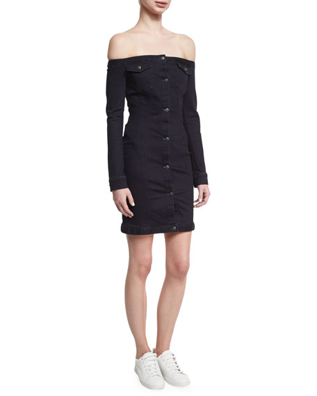 A.L.C. Mika Off-the-Shoulder Denim Mini Dress, Black