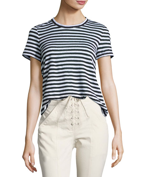 Tesi Striped Linen Tee, Black/White