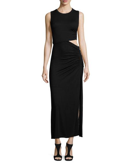 A.L.C. Jaxon Sleeveless Ruched Cutout Maxi Dress, Black
