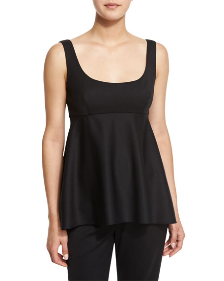 Milly Sleeveless Empire-Waist Gabardine Top, Black