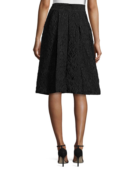 Pleated Jacquard A-Line Skirt, Black