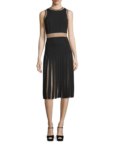 Sleeveless Pleated Dress W/Lace Insets, Black