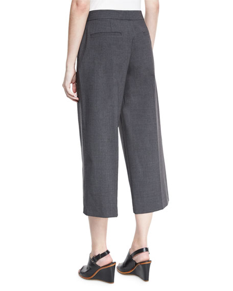 Skylar Tropical Wool-Blend Cropped Pants, Gray Melange