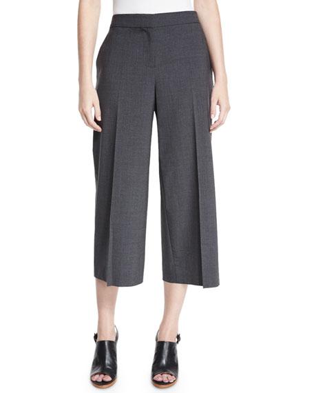 Kobi Halperin Skylar Tropical Wool-Blend Cropped Pants, Gray