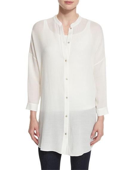 Eileen Fisher Crinkled Gauze Long Shirt