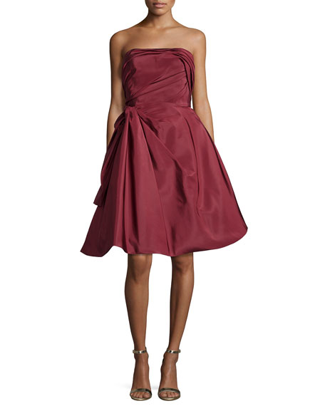 Strapless Ruched Cocktail Dress, Bordeaux