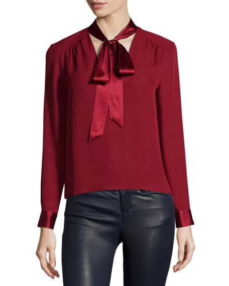 Alice + Olivia Irma Satin-Trim Necktie Blouse