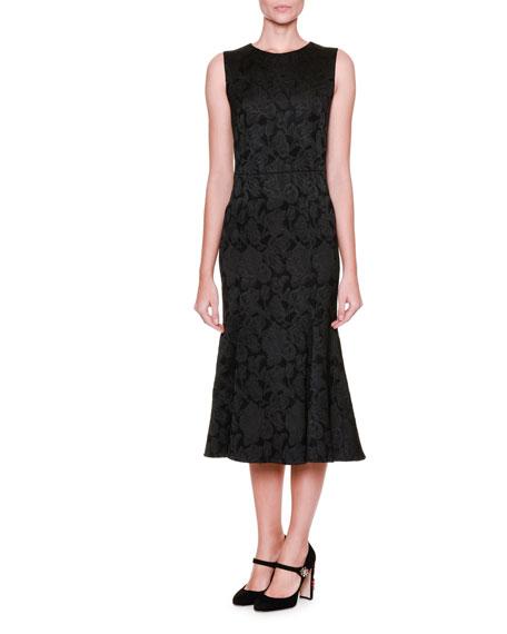 Dolce & Gabbana Flounce-Hem Floral Midi Dress, Black