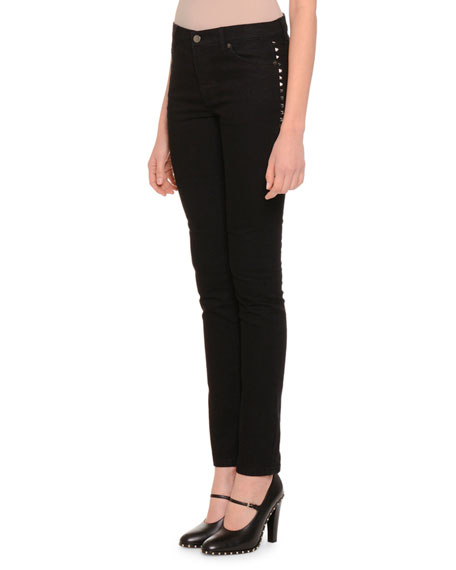 Rockstud-Trim Skinny Pants, Black