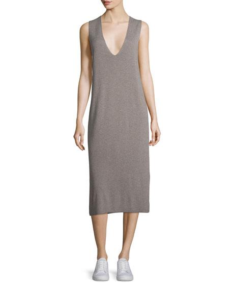 Sleeveless Half-Milano Midi Dress, Taupe