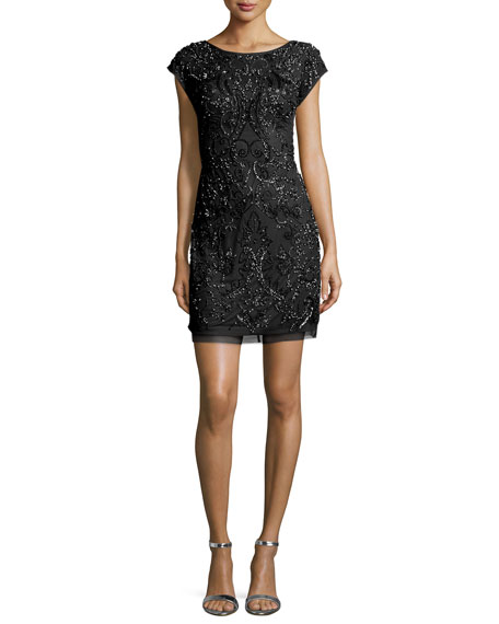 Cap-Sleeve Beaded Cocktail Dress, Black