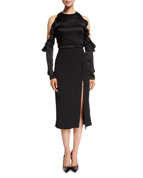 Beaded-Trim High-Slit Pencil Skirt, Black