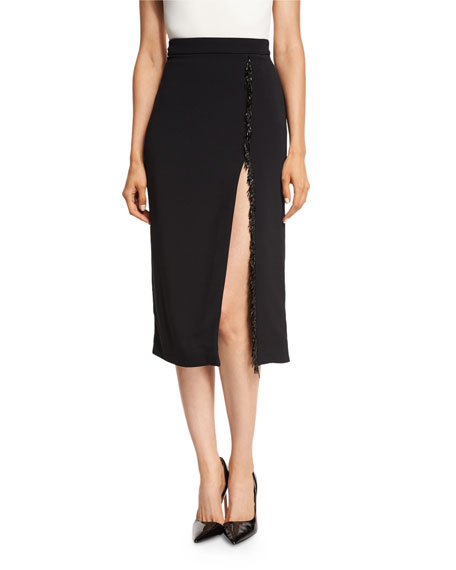 Cushnie Et Ochs Beaded-Trim High-Slit Pencil Skirt, Black