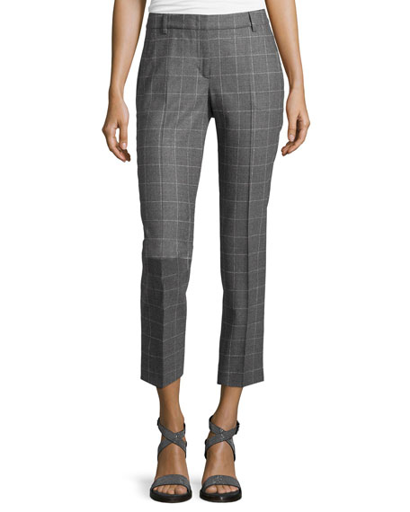 Peserico Windowpane Slim-Fit Cropped Pants, Gray