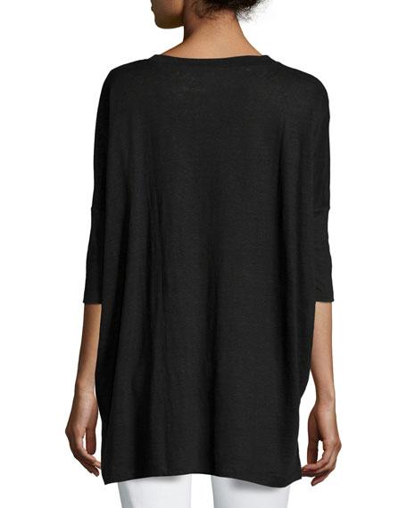 Dolman-Sleeve Boxy Organic Linen Tunic