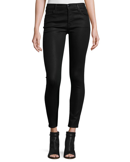 J Brand Mid-Rise Coated Skinny Ankle Jeans, Fearless
