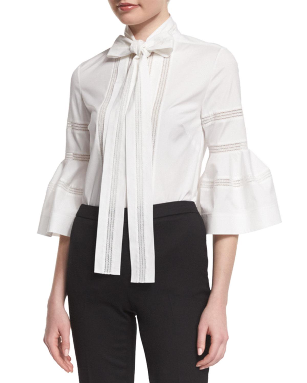 8941304a39aebd Carolina Herrera Bell-Sleeve Tie-Neck Cotton Blouse