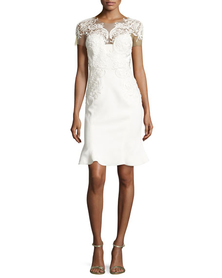 Marchesa Lace-Appliqué Flared-Hem Cocktail Dress, Ivory