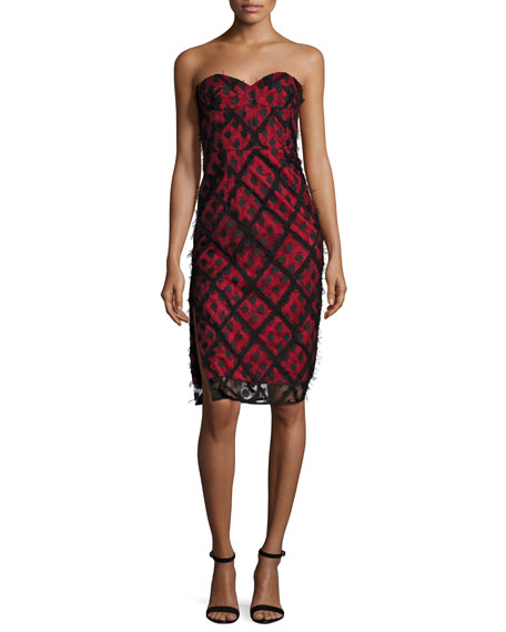 Milly Alix Embroidered Strapless Sweetheart Dress, Black/Red