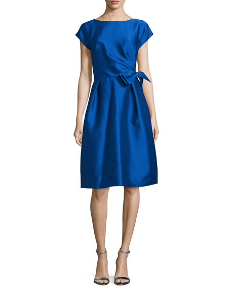 Rickie Freeman for Teri Jon Cap-Sleeve Bow-Waist Cocktail