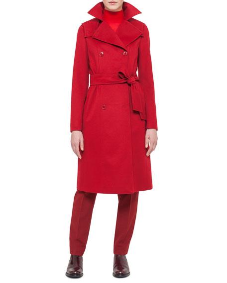 Cashmere-Blend Belted Coat, Wunderbeere