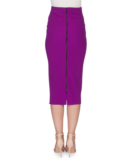 High-Waist Midi Pencil Skirt, Plum
