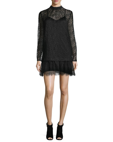 McQ Alexander McQueen Long-Sleeve Lace Shift Dress, Black