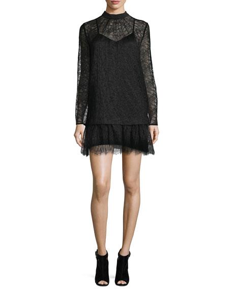 McQ Alexander McQueen Long-Sleeve Lace Shift Dress, Black