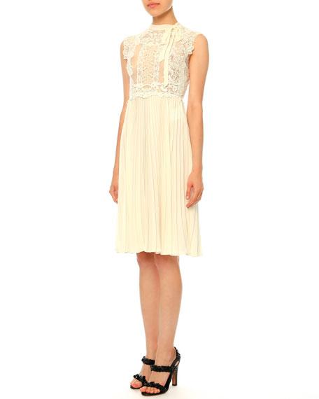 Valentino Sleeveless Lace Plisse Dress, Ivory