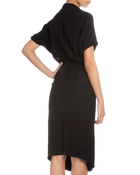 Short-Sleeve V-Neck Sheath Dress, Black