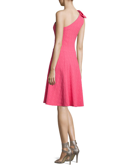 One-Shoulder Bow Textured Fit & Flare Dress