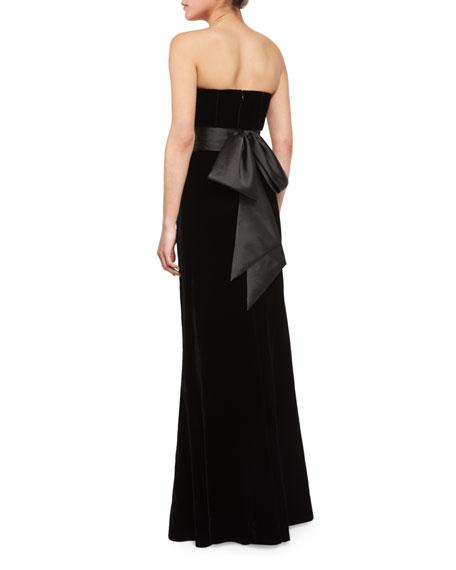 Strapless Velvet Belted Mermaid Gown, Onyx
