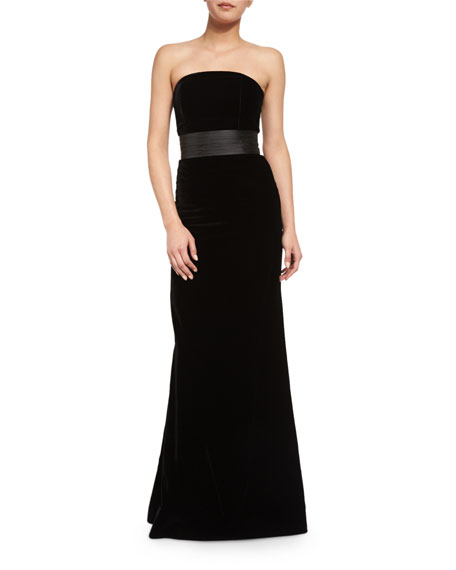 Strapless Velvet Belted Mermaid Gown, Onyx