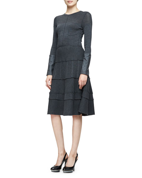 Oscar de la Renta Long-Sleeve Tiered-Skirt Dress