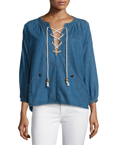 The Great The Rope Lace-Up Denim Pullover, Harbor