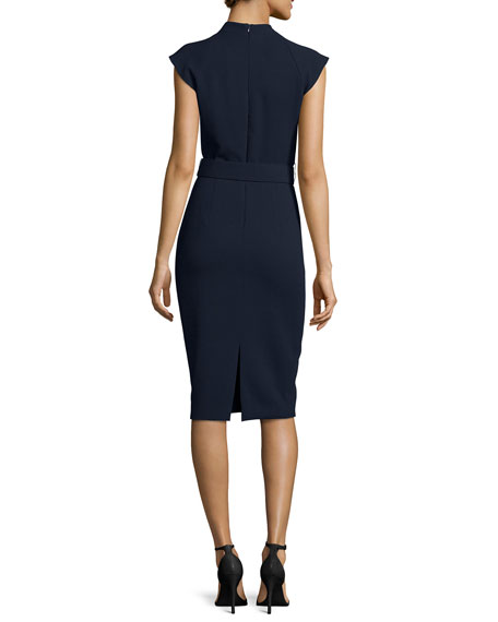 Cap-Sleeve Belted Crepe Sheath Dress, Navy