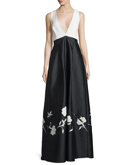 Sachin & Babi V-Neck Colorblock Gown W/Floral Appliqué,