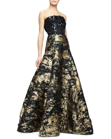 Oscar De La A Strapless Embellished Bodice Metallic Gown Gold Black Neiman Marcus