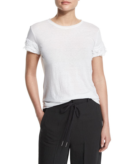 Helmut Lang Distressed-Sleeve Jersey Tee, Optic White