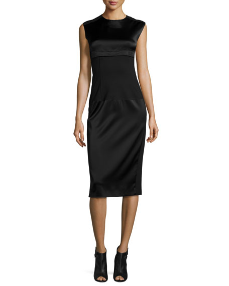 DKNY Sleeveless Mixed-Media Midi Dress, Black
