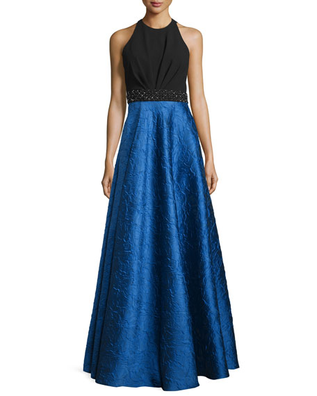 Sleeveless Ponte & Taffeta Combo Gown, Black/Royal