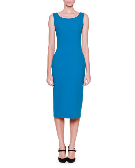 Sleeveless Round-Neck Sheath Dress, Petrol Blue