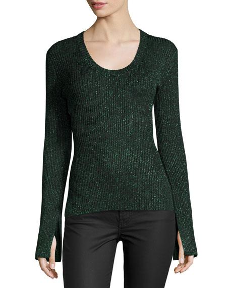 Apiece Apart Vistas Metallic Ribbed Sweater, Green