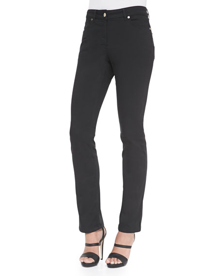 Escada Five-Pocket Slim-Fit Jeans, Black
