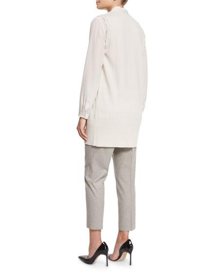 Long Rib-Trim Knit Vest, Cream