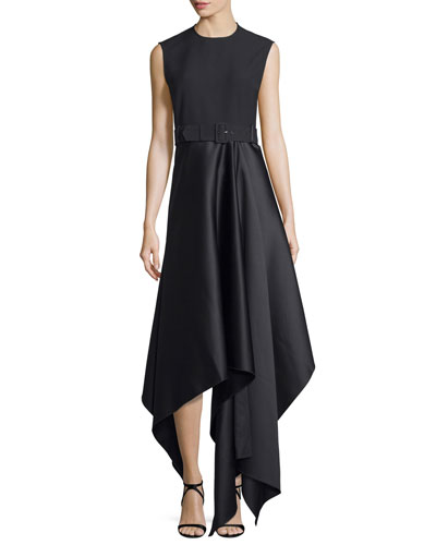 Harlech Sleeveless Crepe & Satin Midi Dress, Black